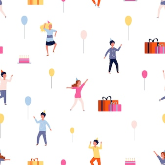 Modèle de fête. fond d'enfants heureux. illustration plate de dessin animé