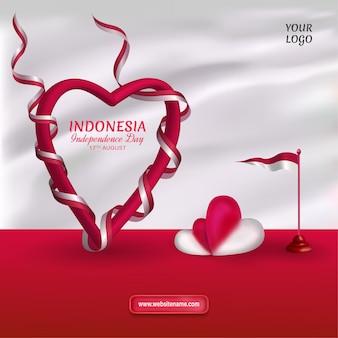 Modèle de fête de l'indépendance de l'indonésie avec coeur enveloppé dans un drapeau de ruban sur fond gris clair
