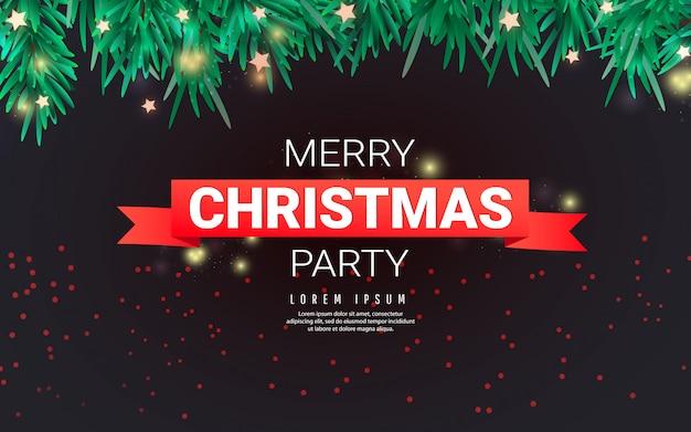 Modèle de fête de joyeux noël avec des flocons de neige de noël, des branches de sapin, des étoiles et un ruban rouge avec le texte sur un fond sombre