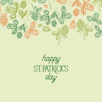 Modèle de fête joyeux saint patricks day avec inscription et croquis shamrock et illustration vectorielle de trèfle à quatre feuilles