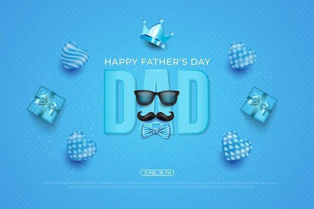 Modèle de fête des pères heureux avec cravate, couronne, lunettes et coeur sur bleu.
