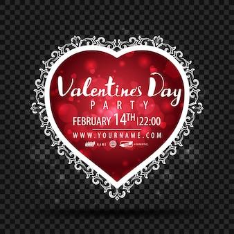 Modèle de fête de la saint-valentin en forme de coeur