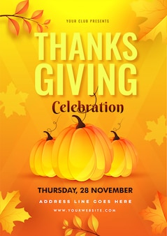 Modèle de fête de thanksgiving ou un dépliant avec des citrouilles et des feuilles de l'automne décorées sur jaune et orange.