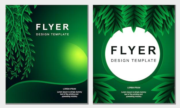 Modèle de feuille d'affiche flyer vert naturel