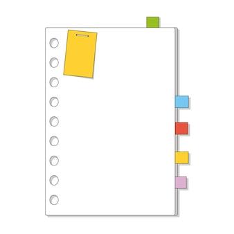 Modèle de feuille. cahier, bloc-notes, agenda.