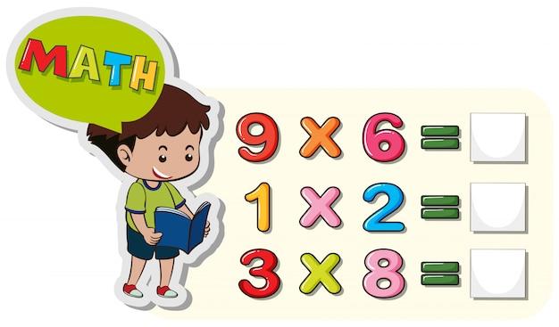 Modèle de feuille de calcul mathématique avec problèmes de garçon et de multiplication