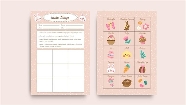 Modèle de feuille de calcul de pâques bingo pastel mignon