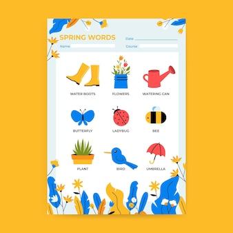 Modèle de feuille de calcul printemps vocabulaire floral créatif