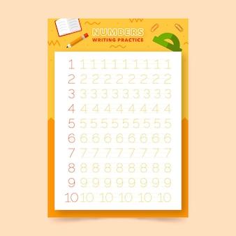 Modèle de feuille de calcul de traçage des nombres pour les enfants