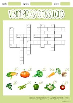 Modèle de feuille de mots croisés de légumes