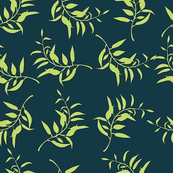 Modèle de feuille de plante modèle sans couture avec des feuilles vertes et des branches vector illustration de la forêt
