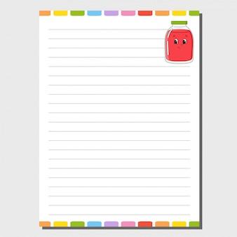 Modèle de feuille pour ordinateur portable, bloc-notes, agenda. personnage drôle.