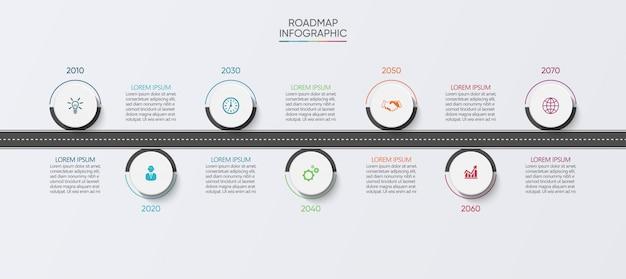 Modèle de feuille de route infographie entreprise présentation avec 7 options