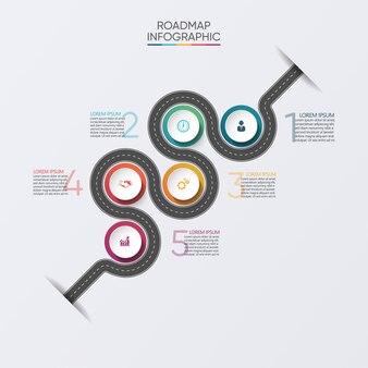 Modèle de feuille de route infographie entreprise présentation avec options