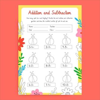 Modèle de feuille de travail générale sur l'addition et la soustraction de la maternelle colorée créative
