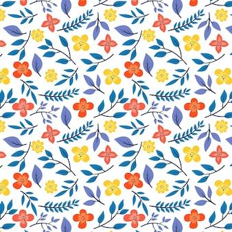 Modèle avec feuilles et fleurs
