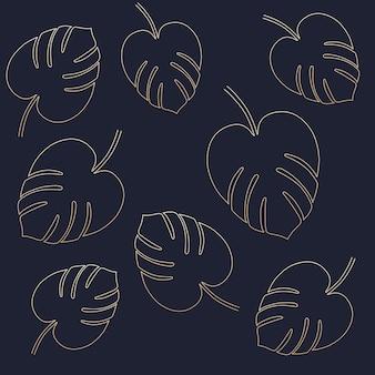 Modèle de feuilles de monstera, dessin vectoriel