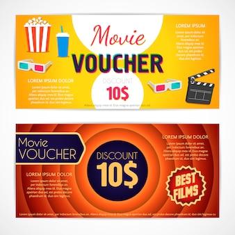 Modèle de film de bon de réduction, certificat cadeau cinéma, modèle de coupon