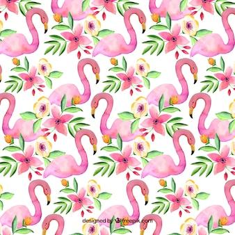 Modèle de flamants roses dans un style aquarelle