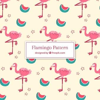Modèle de flamants roses avec des pastèques dans un style dessiné à la main