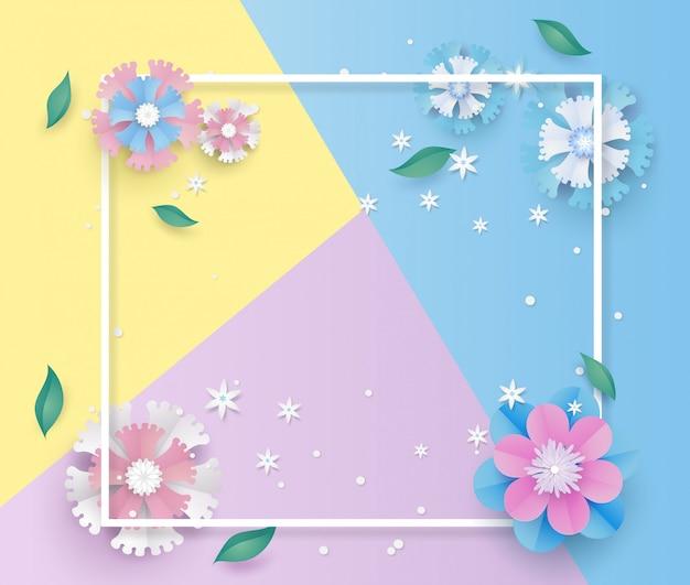 Modèle de fleur et cadre en papier découpé concept.