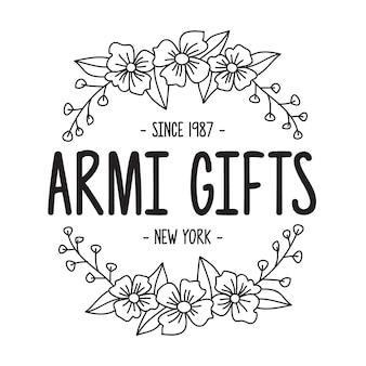 Modèle de fleur dessiné à la main avec insigne logo féminin