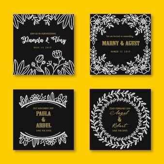 Modèle de fleur dessiné main invitation de mariage