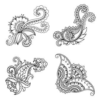 Modèle de fleur de tatouage au henné dans le style indien