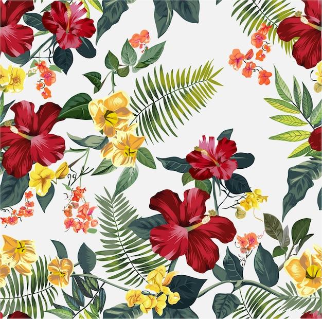 Modèle de fleur tropicale sans soudure