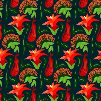 Modèle avec des fleurs et des feuilles exotiques colorées