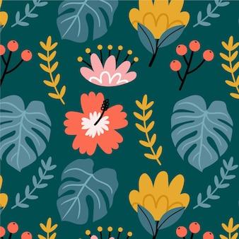 Modèle avec fleurs et feuilles