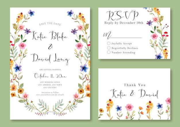 Modèle de fleurs sauvages d'invitation de mariage aquarelle