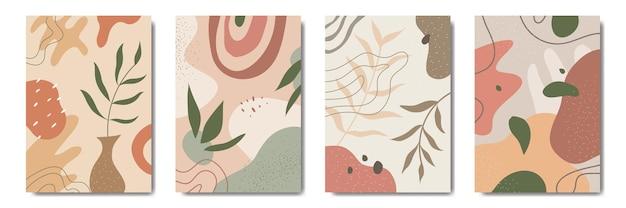 Modèle floral abstraitcontemporain feuilles modernes portraits collection de modèles d'affiches boho