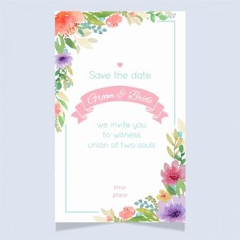 Modèle floral de carte d'invitation de mariage floral aquarelle3