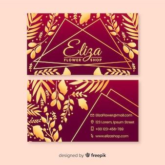 Modèle floral carte de visite doré