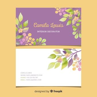 Modèle floral élégant carte de visite