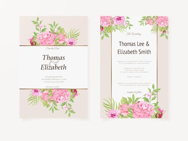 Modèle floral d'été d'invitation de mariage