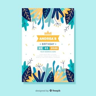 Modèle floral d'invitation anniversaire