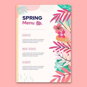 Modèle floral de menu plat printemps