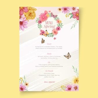 Modèle floral de menu printemps aquarelle