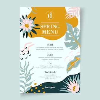 Modèle floral de menu printemps design plat
