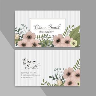 Modèle floral mignon modèle de conception de carte de visite