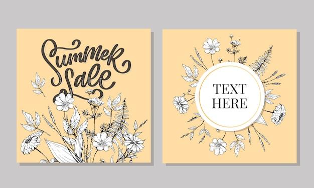 Modèle floral à la mode. fleurs d'été et illustration de lettrage de vente d'été. texture or minable sur fond rayé.
