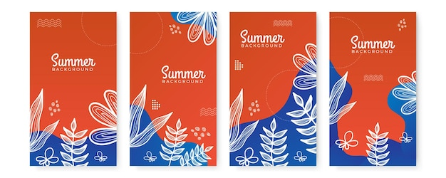 Modèle floral plat organique de vente d'été pour les médias sociaux ou la bannière d'été de flyer carré