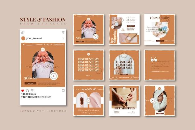 Modèle de flux de médias sociaux de vente de mode beige doodle esthétique