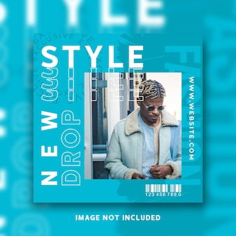 Modèle de flux de publication de médias sociaux instagram de style de mode moderne