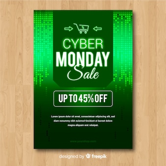 Modèle de flyer abstrait cyber lundi vente en vert
