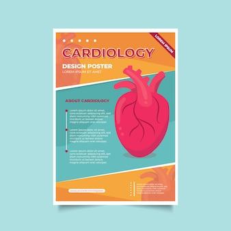 Modèle de flyer de affiche de cardiologie médicale