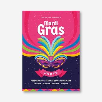 Modèle de flyer d'affiche de la fête du mardi gras