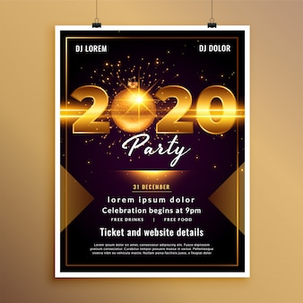 Modèle de flyer ou affiche de fête du nouvel an 2020
